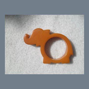 Vintage Butterscotch Elephant Bakelite Napkin Ring