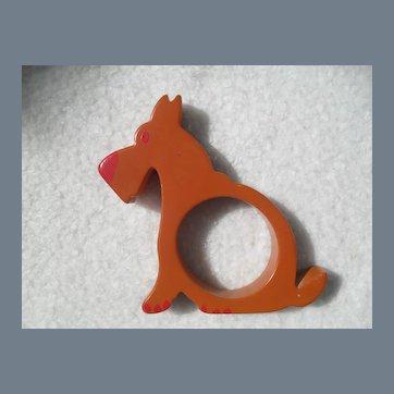 Vintage Bakelite Airedale Terrier Dog Napkin Ring