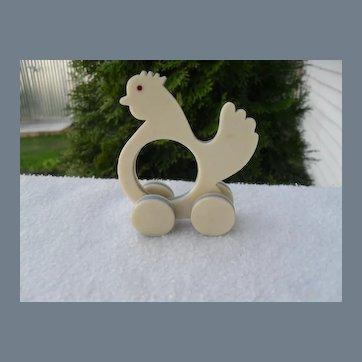 Rare White Bakelite Rooster Chicken Wheels Napkin Ring
