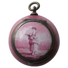 Antique Battersea Pink River Landscape Vinaigrette Pendant