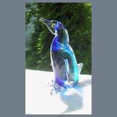 Vintage Rubelli Murano Glass Penguin Original Label