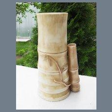 Antique Royal Worcester Bamboo Molded Blush Vase 1886