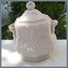 Antique Parianware Cream Floral Finial Sugar Bowl