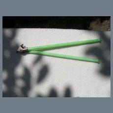 "Vintage Jadeite Green Glass Double Towel Bar 10"""