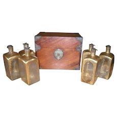 Antique Mahogany Dutch 6 Decanter Box