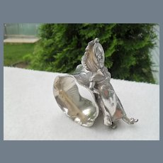 Antique Victorian Silver-Plate Figural Leaning Girl Napkin Ring