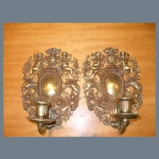 Pair of 19th C Brass Candle Sconces Birds Putti Flowers