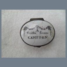 Antique Bilston Battersea A Trifle from Camden Patch Pill Box