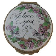Halcyon Days Bilston Battersea Enamel I Love You Birds Pill Box