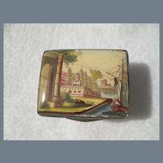 Antique Bilston Battersea Country Scene Ship Pill Patch Box