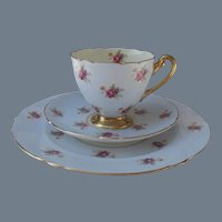 Shelley Hulmes Pink Rose on Blue Teacup Saucer Trio