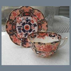 Antique Wileman Foley Shelley Red Blue Gold Teacup Saucer 4255