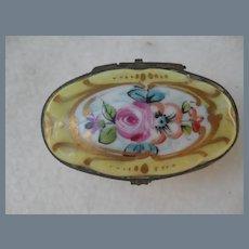 Vintage Signed Limoges France HP Floral Pill Box
