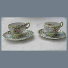 Antique Pair of Nippon Handpainted Demitasses Cups and Saucers