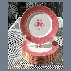 Ten Antique Aynsley Pink Gold Encrusted Floral Dinner Plates