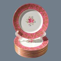 Ten Antique Aynsley Pink Gold Encrusted Floral Dinner Plates