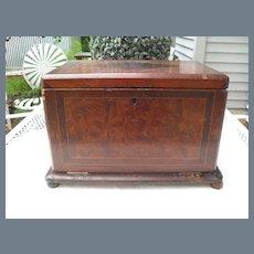 English Cherry Tabletop Stationery Writing Desk Box Tambour