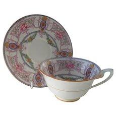 Royal Worcester Teacup and Saucer Pink Roses Trellis