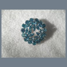 Signed Vintage Sherman Blue Turquoise Brooch Pin