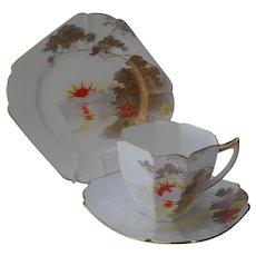 Shelley Gold Sunset Teacup Saucer Tea Plate Trio 11707