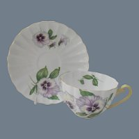 Shelley Pansy Teacup and Saucer Ludlow 13823