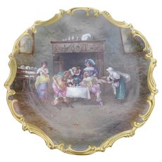 Large Antique Limoges Charger Plaque Scene Fortune Teller Witch