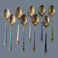 Set of David Andersen Norway Sterling Guilloche Enamel Spoon s