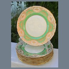 Antique Royal Doulton Gold Encrusted Dinner Plates (9 + 3) BB 3028