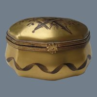Le Tellec Paris Signed Gold Bombay Pill Trinket Box