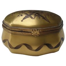 Le Tellec Paris Signed Gold Bombay Pill Trinket Box