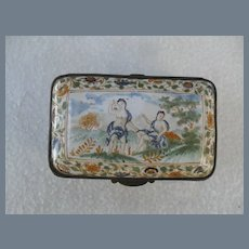 Antique Signed Enamel Adam and Eve Snuff Trinket Box