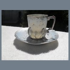 Antique HP White Birds Silver Demitasse Cup and Saucer