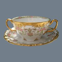 Jean Pouyat Limoges Pink Roses Gold Encrusted Cream Soup
