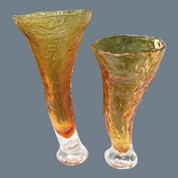 Pair of MCM Finland Humppila Glass Amber Vase (s)