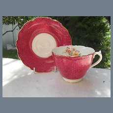 Charming Coalport Raspberry Red Signed Teacup and Saucer