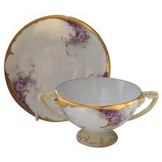 Early Handpainted Rosenthal Purple Floral Soup and Saucer