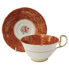 Vintage Aynsley Burgundy Gold Floral Teacup and Saucer
