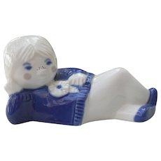 Porsgrund Norway Blue and White Girl Flower Figurine 71