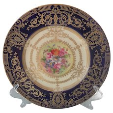 Stunning Royal Worcester Floral  Gold Encrusted Cabinet Plate Signed William Hale
