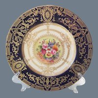 Gorgeous Royal Worcester Floral Gold Encrusted Cabinet Plate Signed William Hale