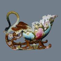 Bohemian Art Nouveau Eichwald Majolica Barbotine Sleigh
