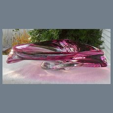 Gleaming Pink Cranberry Val St Lambert Tri Bowl Centerpiece