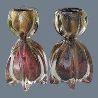 Vintage Pair Murano Deep Cranberry Gold Fleck Candlesticks