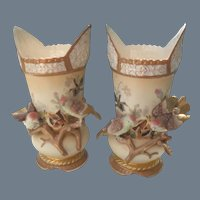 Pair of Antique Figural Bird Mantel Vase (s)