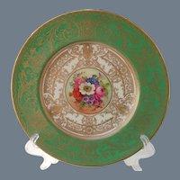 Royal Worcester Floral Gold Encrusted Cabinet Plate Signed E. Barker