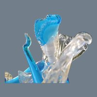 Gleaming Murano Turquoise Cased Glass Lady Woman Figurine