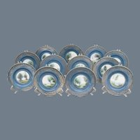 Set of 12 Sgd Royal Worcester Evans Teal Blue Plate s