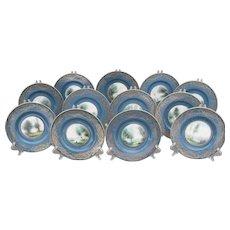 Set of 12 Sgd Royal Worcester Evans Teal Blue Plate s