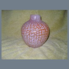 Vintage Orient and Flume Orange Crackle Glass Vase