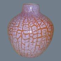 Vintage Orient and Flume Orange Crackle Glass Vase